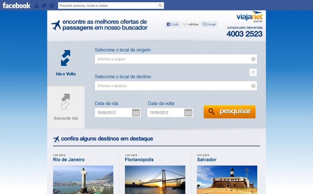 loja virtual no facebook